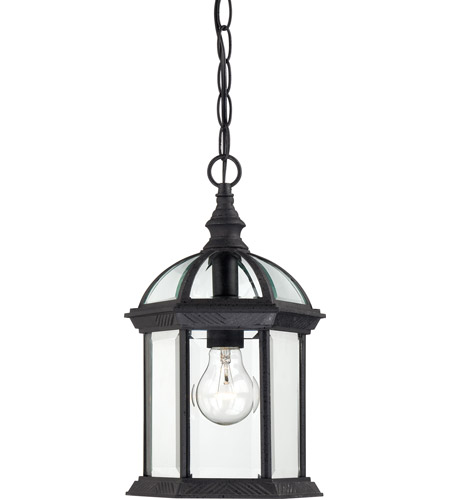 Nuvo 60 4979 Boxwood 1 Light 8 Inch Textured Black Outdoor Hanging Lantern
