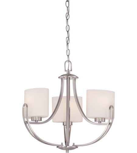 lola 3 light 20 inch brushed nickel chandelier ceiling light. Black Bedroom Furniture Sets. Home Design Ideas