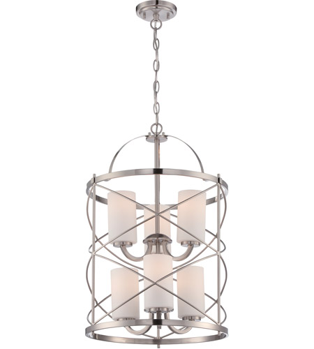Nuvo 605329 ginger 6 light 16 inch brushed nickel chandelier nuvo 605329 ginger 6 light 16 inch brushed nickel chandelier ceiling light aloadofball Image collections