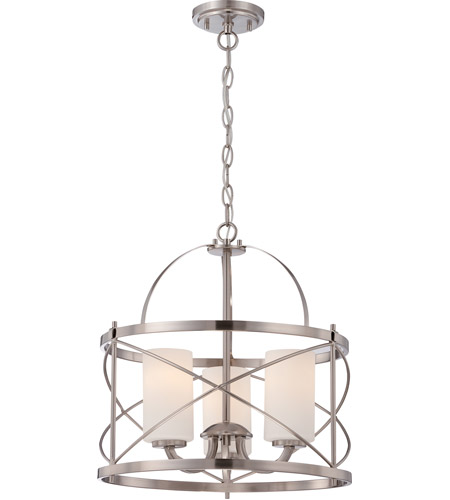Nuvo 605333 ginger 3 light 16 inch brushed nickel pendant ceiling light mozeypictures Images