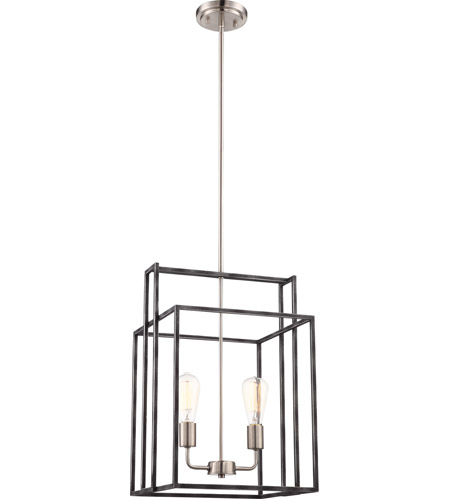 """Nuvo Lake 4 Light 19/"""" Square Pendant Iron Black with Brushed Nickel Accents"""