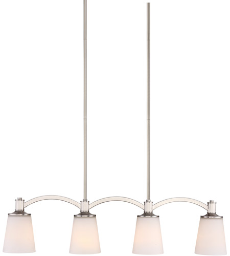 Nuvo 60 5875 laguna 4 light 33 inch brushed nickel island pendant ceiling light