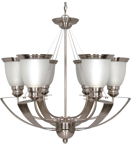 Nuvo 60/616 Palladium 6 Light 25 inch Brushed Nickel Chandelier Ceiling Light photo
