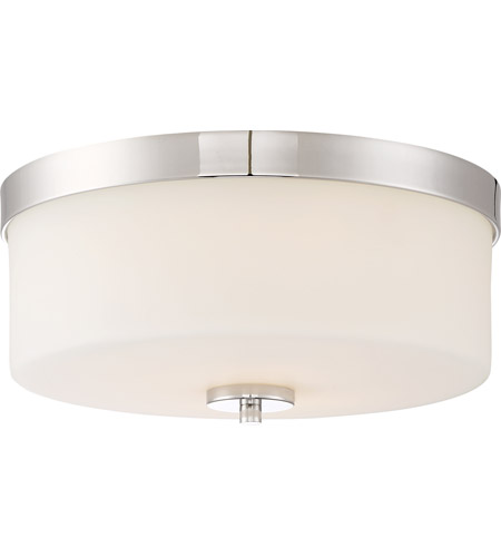 Nuvo 60 6231 Denver 2 Light 14 Inch Polished Nickel Flush Mount Ceiling