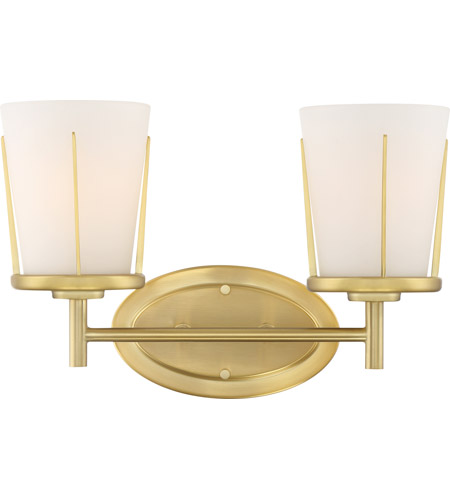Nuvo 60/6532 Serene 2 Light 14 inch Natural Brass Wall Sconce Wall Light photo thumbnail