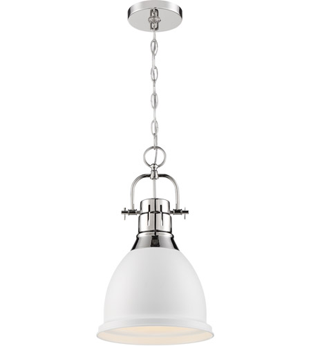 Nuvo 60/6752 Watson 1 Light 10 inch Polished Nickel and White Pendant Ceiling Light photo thumbnail