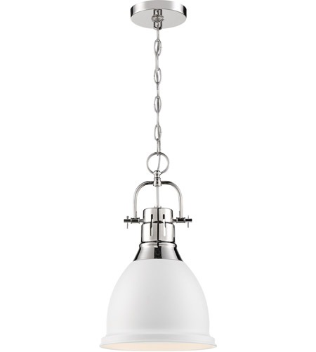 Nuvo 60/6752 Watson 1 Light 10 inch Polished Nickel and White Pendant Ceiling Light alternative photo thumbnail