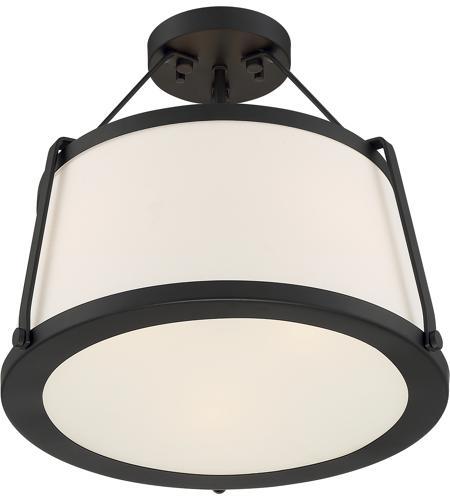 Nuvo 60 6998 Cutty 3 Light 16 Inch Matte Black Semi Flush Mount Fixture Ceiling Light