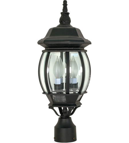Nuvo 60/899 Central Park 3 Light 21 inch Textured Black Outdoor Post Lantern photo