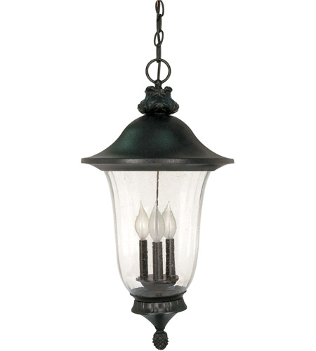 Nuvo 60/982 Parisian 3 Light 13 inch Textured Black Outdoor Hanging Lantern photo