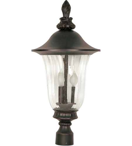 Nuvo 60/983 Parisian 3 Light 27 inch Old Penny Bronze Outdoor Post Lantern photo