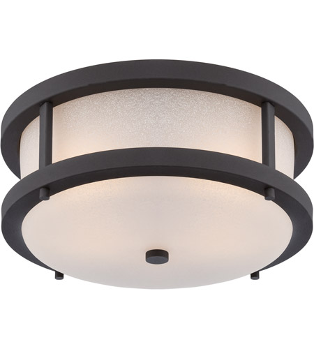 Nuvo 62 653 Willis Led 14 Inch Textured Black And Antique White Outdoor Flush Mount