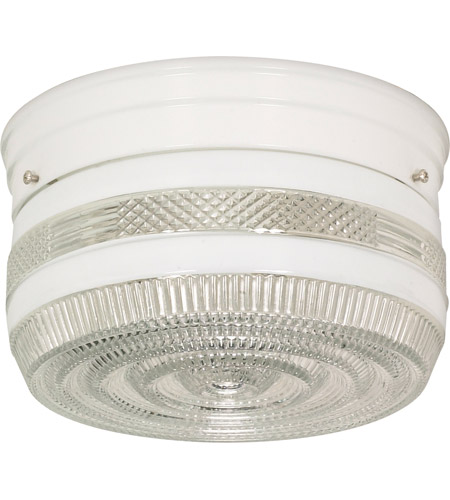 Nuvo Sf77 098 Drum Gl 2 Light 8 Inch White Flush Mount Ceiling Photo