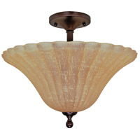 Moulan 3 Light 16 inch Copper Bronze Semi-Flush Ceiling Light