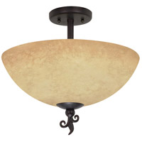 Tapas 3 Light 16 inch Old Bronze Semi-Flush Ceiling Light