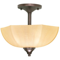 Normandy 2 Light 13 inch Copper Bronze Semi-Flush Ceiling Light