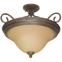 Castillo 3 Light 19 inch Sonoma Bronze Semi-Flush Ceiling Light
