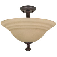 Nuvo 60/103 Mericana 2 Light 16 inch Old Bronze and Amber Semi Flush Mount Ceiling Light