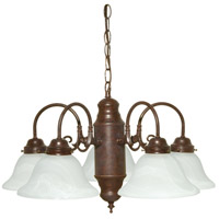 Nuvo 60/1291 Signature 5 Light 23 inch Old Bronze Chandelier Ceiling Light