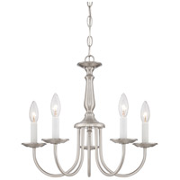 Nuvo 60/1298 Candlesticks Glass 5 Light 18 inch Brushed Nickel Chandelier Ceiling Light