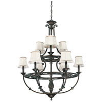 Nuvo Lighting Pickford 9 Light Chandelier in Distressed Bronze 60/1563 photo thumbnail