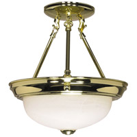 Nuvo 60/216 Signature 2 Light 11 inch Polished Brass Semi-Flush Ceiling Light