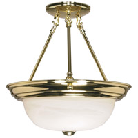 Signature 2 Light 13 inch Polished Brass Semi-Flush Ceiling Light