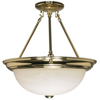 Signature 3 Light 15 inch Polished Brass Semi-Flush Ceiling Light