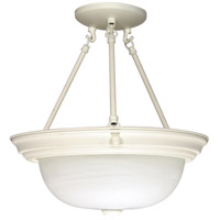 Signature 3 Light 15 inch Textured White Semi-Flush Ceiling Light