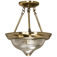 Signature 2 Light 11 inch Antique Brass Semi-Flush Ceiling Light