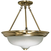 Signature 3 Light 15 inch Antique Brass Semi-Flush Ceiling Light