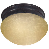 Nuvo Lighting Champagne Linen Glass 1 Light Flush Mount in Mahogany Bronze 60/2642