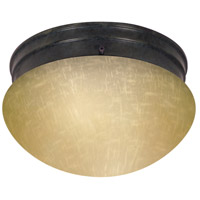 Champagne Linen Glass 2 Light 8 inch Mahogany Bronze Flush Mount Ceiling Light