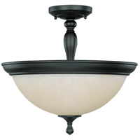 Bella 3 Light 16 inch Aged Bronze Semi-Flush Ceiling Light