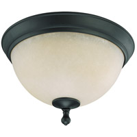 Bella 2 Light 14 inch Aged Bronze Flushmount Ceiling Light