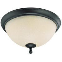 Bella 2 Light 16 inch Aged Bronze Flushmount Ceiling Light