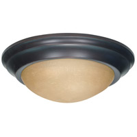 Signature 3 Light 17 inch Mahogany Bronze Flushmount Ceiling Light