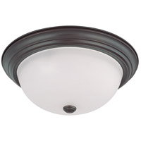 Signature 3 Light 15 inch Mahogany Bronze Flushmount Ceiling Light
