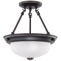 Signature 2 Light 11 inch Mahogany Bronze Semi-Flush Ceiling Light
