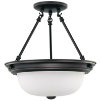 Signature 2 Light 13 inch Mahogany Bronze Semi-Flush Ceiling Light
