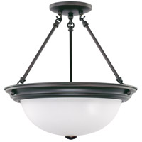 Signature 3 Light 15 inch Mahogany Bronze Semi-Flush Ceiling Light