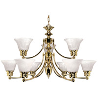 Nuvo 60/361 Empire 9 Light 32 inch Polished Brass Chandelier Ceiling Light