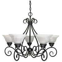 Nuvo 60/380 Castillo 5 Light 28 inch Textured Black Chandelier Ceiling Light