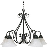 Nuvo 60/381 Castillo 5 Light 28 inch Textured Black Chandelier Ceiling Light