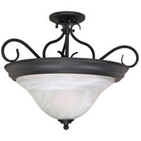 Castillo 3 Light 19 inch Textured Black Semi-Flush Ceiling Light