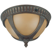 Beaumont 2 Light 13 inch Fruitwood Outdoor Flushmount