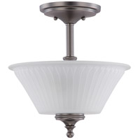 Nuvo Lighting Teller 2 Light Semi-Flush in Aged Pewter 60/4018