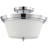 Nuvo 60/4087 Bento 2 Light 13 inch Polished Chrome and Satin White Semi Flush Mount Ceiling Light
