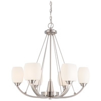 Helium 6 Light 27 inch Brushed Nickel Chandelier Ceiling Light