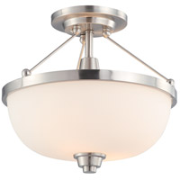 Helium 2 Light 14 inch Brushed Nickel Semi-Flush Ceiling Light